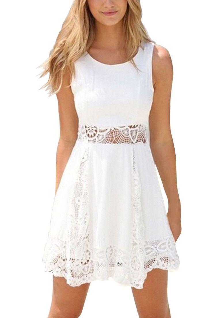 White Lace A-Line Mini Dress