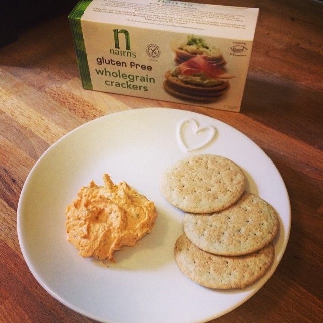 Writing a big pitch today so having a sneaky afternoon snack, #nairns crackers and piri piri hummus. Inspired by last weeks bake off