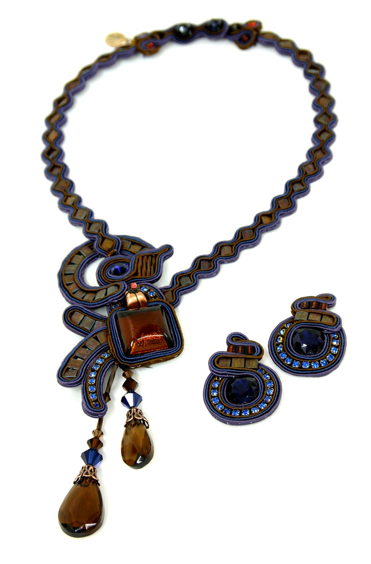 necklace & earrings from Israel by DORI CSENGERI | AIBIJOUX | Hand Embroidered Jewellery  |