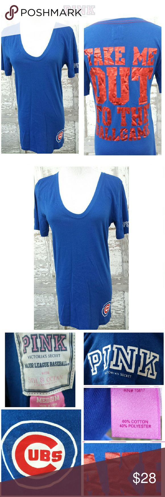 """PINK-Victoria's Secret Chicago Cubs Scoop T-shirt Rare Chicago Cubs Long Length Scoop Neck T-shirt! Cubbies Blue + Red Foil Graphic """"TAKE ME OUT TO THE BALLGAME"""" on Back. Cubs Logo on Front- L bottom of the shirt (Just above the -Hem line). """"PINK"""" Logo on L- Sleeve. Size Medium. Excellent Condition! Worn Only 1x time! Fit was too big on me. 60% Cotton & 40% Polyester. Great Quality MLB Shirt from Victoria's Secret. Style is No longer Sold in Stores & is hard to find. PINK Victoria's Secret…"""