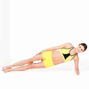 7 WAIST-SLIMMING AB EXERCISES 1) Side-Plank Up 2) Round Back 3) Fly Up 4) Pelvic Scoop 5) C-Curve 6) Flat Back 7) Twisted Curl