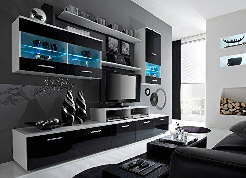 Paris Contemporary Design Wall Unit / Modern Entertainment Center / Unique Modern Design / with LED Lights / High Storage Capacity / Living Room Furniture / Tv Stand (Black & White)