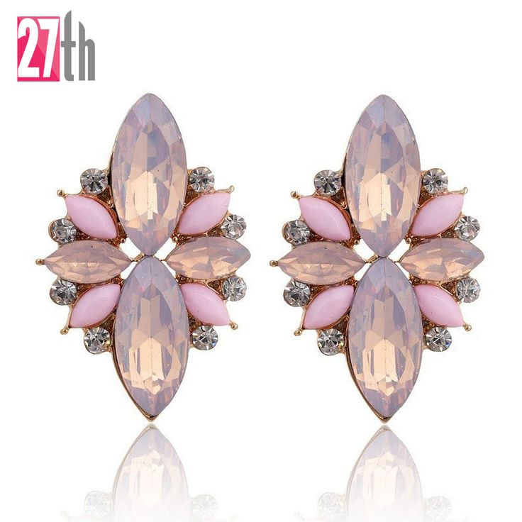 Opal Stone Stud Earrings 2015 New Elegant Crystal Earrings For Women Trendy Gold Plated Women Earrings *** Click the VISIT button to enter the website