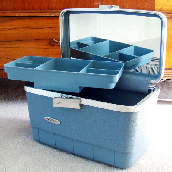 Vintage Luggage Blue Train Case 70s Blue Grey by Flourisheshome