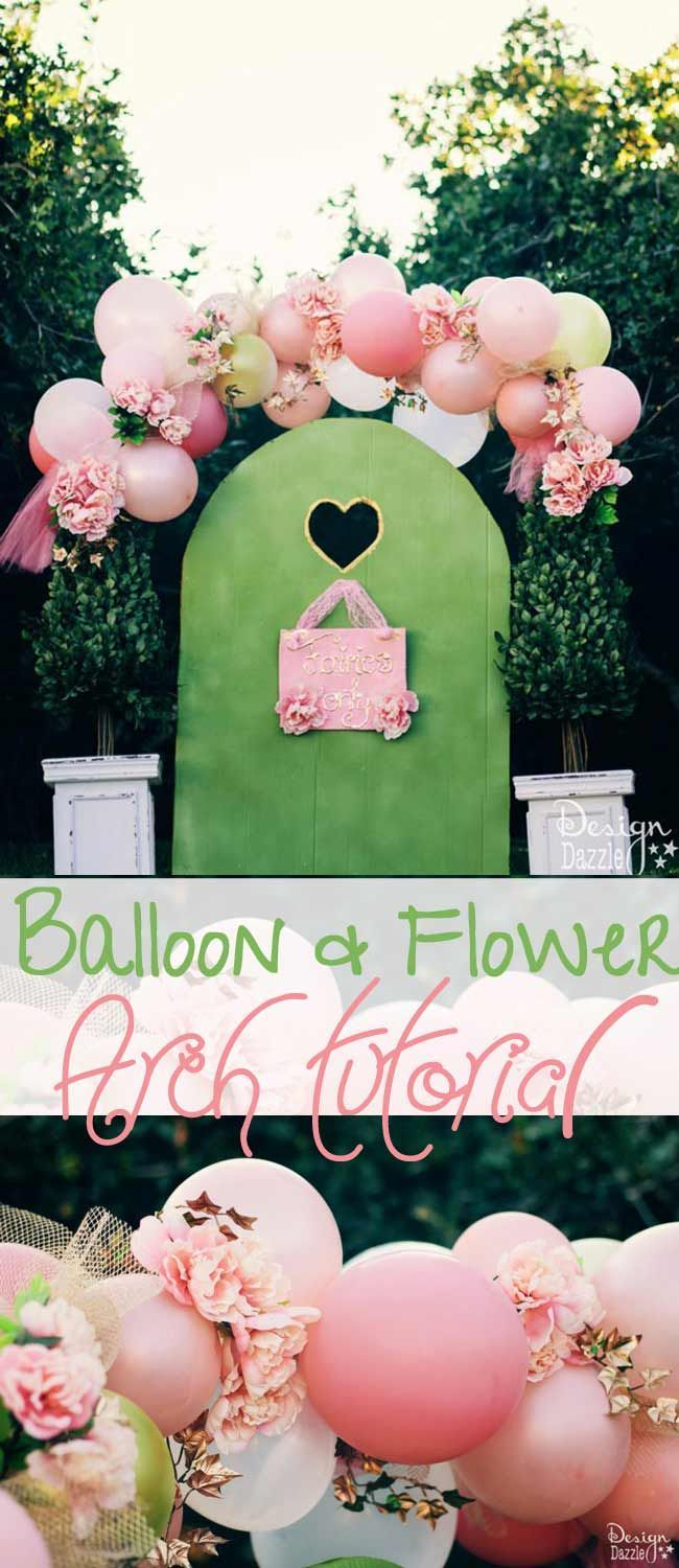 Party decorations miami baby shower balloon decorations - Balloons And Flowers Make A Beautiful Fairy Arch