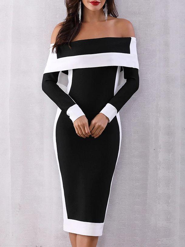 e98a5d90809 Open Shoulder Patchwork Slit Color Block Colouring Bodycon  Dress   bodycondress