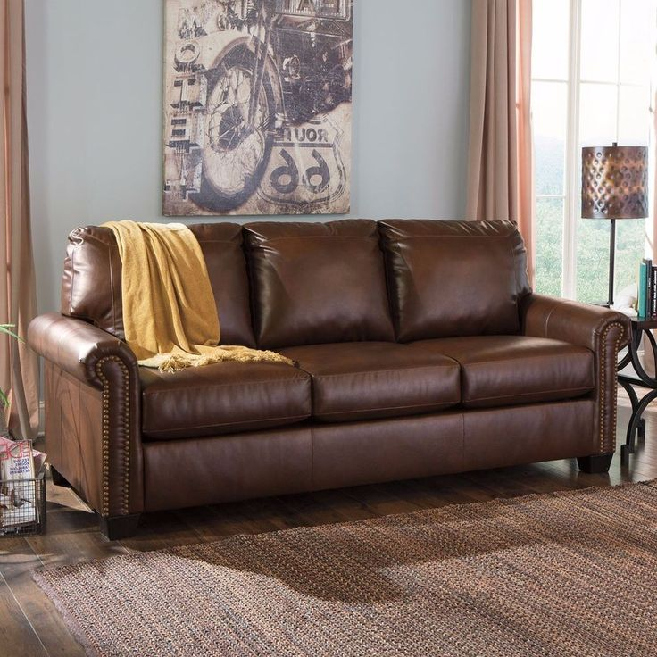 Brown Leather Jennifer Convertibles Leather Sofa   $799.99 When New