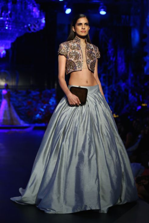 Beautiful pale blue lehenga! By Manish Malhotra on thedelhibride.com Outfit details: Pale Blue Lehenga Skirt with Dusty Pink Jacket with Dust Gold Mushroom Flower Motifs - Manish Malhotra - Amazon India Couture Week 2015 high res