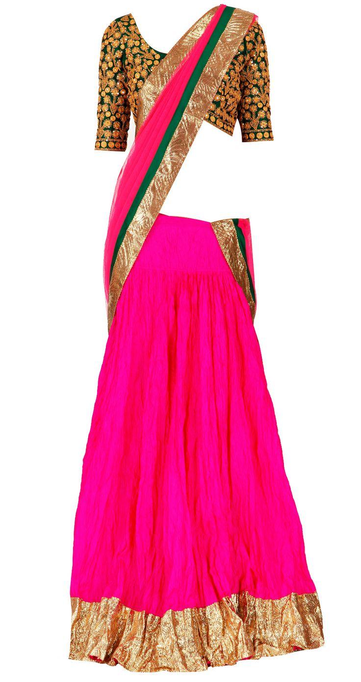 pink crushed pure silk lehenga