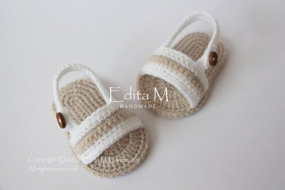 Crochet baby sandals baby slippers flip flops by EditaMHANDMADE