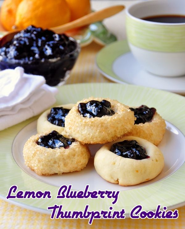 Lemon Blueberry Thumbprint Cookies - | cookies & cupcakes | Pinterest