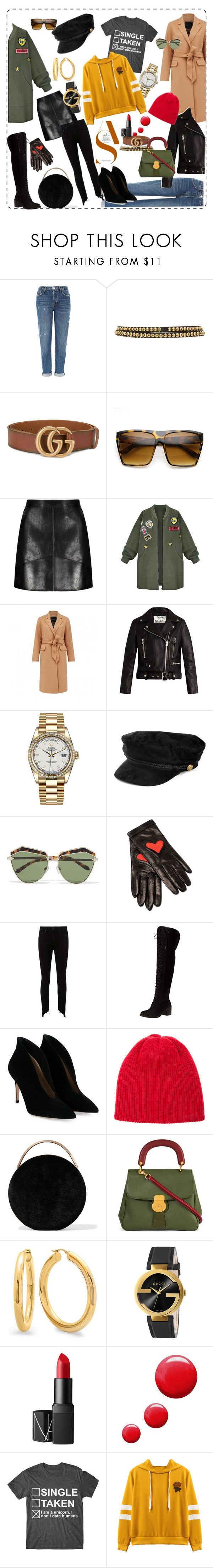 """Red tshirt"" by liubovdrekostyle on Polyvore featuring Topshop, Burberry, Gucci, ZeroUV, WithChic, Acne Studios, Rolex, Karen Walker, Boutique Moschino и rag & bone"