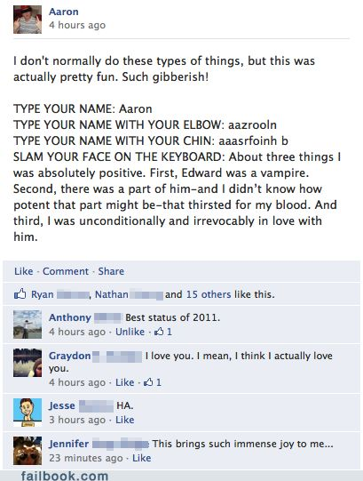 Too early to call this my favorite Facebook post of 2012?