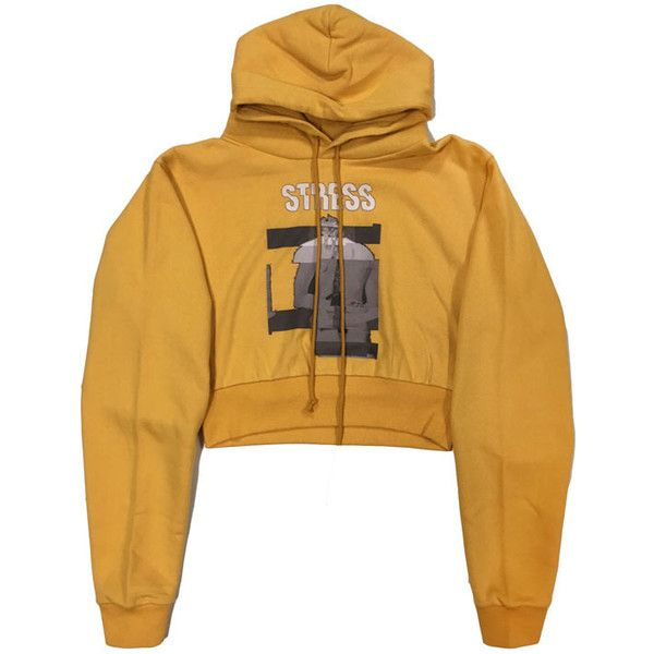 """STRESS"" HOODIE MUSTARD type ($130) ❤ liked on Polyvore featuring tops, hoodies, mustard yellow top, brown hoodies, hooded pullover, brown top and brown hoodie"