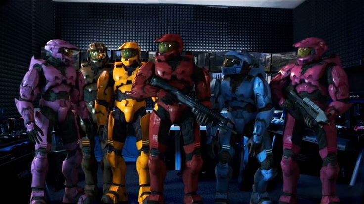 Some Of The Main Characters Of Red Vs. Blue In The Headquarters (Rooster Teeth Productions) Of Their Creators In Season 14 Episode 24. #rvb #redvsblue #season14 #episode24 #2016 #roosterteeth #donut #lopez #grif #sarge #caboose #simmons