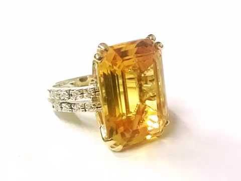 GOLD RING WITH TOPAZ AND DIAMOND , HANDMADE