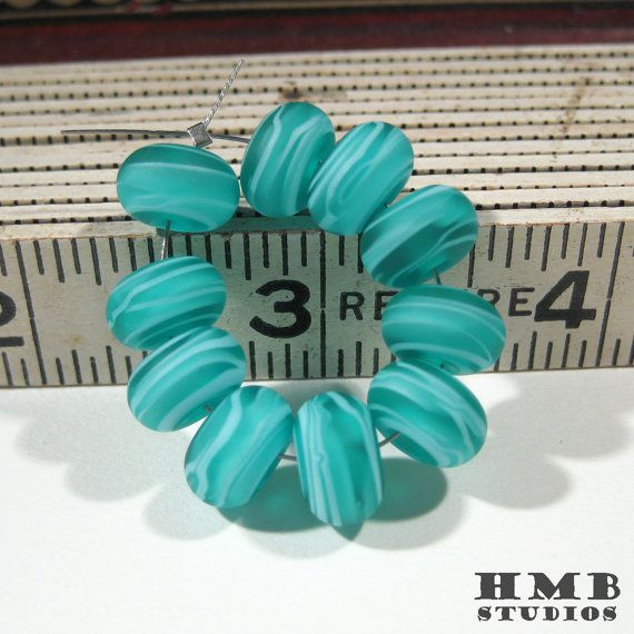 Small Handmade Lampwork Spacers  Light Blue on Teal by hmbstudios, $11.95