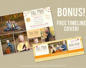 Mini Sessie Template - 5x7 marketing template - vallen mini sessie template en matching facebook timeline - INSTANT DOWNLOAD