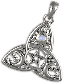 Celtic Triquetra Pendant $65.95 The triquetra with or without the circle has been found on runestones in Scandinavia, in ancient goddess-oriented pagan groups, in Celtic manuscripts, and on early Germanic coins. It is associated with numerous mythical gods and goddesses and has been used as a protective charm by Wiccans. Sometimes the symbol is reversed, pointing down rather than up. The three points may also be round rather than pointed. www.crossroad.to/Books/symbols1.html