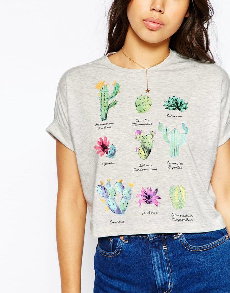 Image 3 ofASOS Cropped T-Shirt With Cactus Print