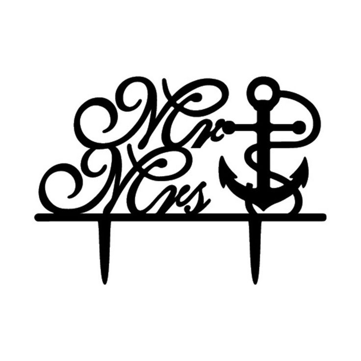 Wedding Cake Topper (Anchor /Navy Theme /Cursive Writing /Creative /Mr Mrs)