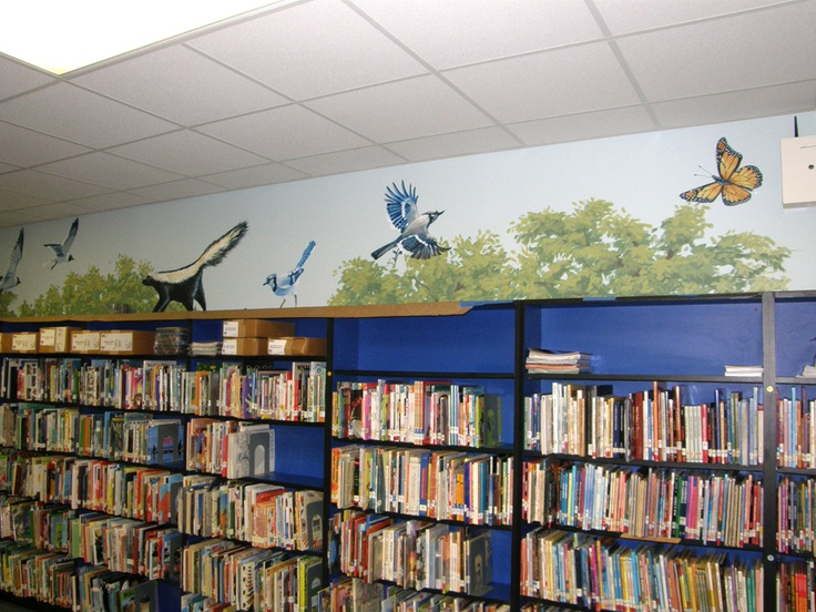 17 best images about decorating the library on pinterest for Elementary school mural ideas