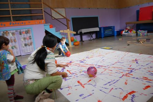 Balls study-     Large scale ball painting. Do outside or out the back door to the classroom. Use various sizes, shapes, textures. Write down what the students dictate during and after the activity. Add their spoken documentation to the mural and hang in the hallway.