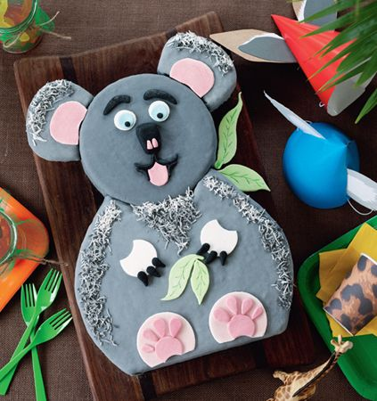 Koala cake. A creative cake that is sure to impress at any kids birthday party. #Woolworths #party #cake #recipe http://www.woolworths.com.au/wps/wcm/connect/Website/Woolworths/FreshFoodIdeas/Recipes/Recipes-Content/koalacake?utm_source=pinterest&utm_medium=social&utm_campaign=Christmas