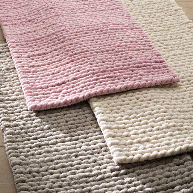 Descente de lit pure laine, effet maille tressée, La Redoute Interieurs