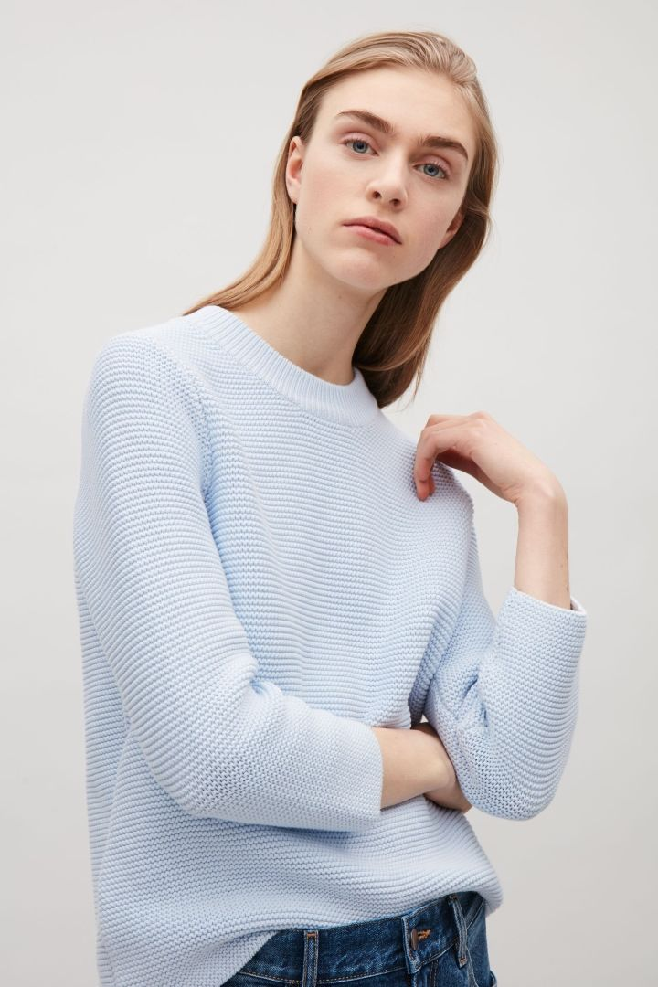 COS image 4 of Textured knit jumper in Powder Blue