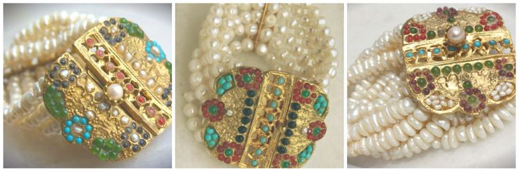 Mahperi Bracelet:  Handcrafted cuff bracelet with freshwater pearls and studded with semi precious stones.