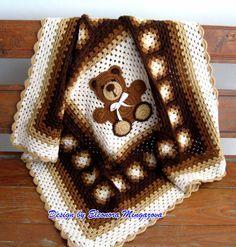 """Love Crochet: Teddy Bear blanket 39"""" by 39"""" - Etsy pattern $ - Teddy Bear crochet appliqued onto the blanket"""