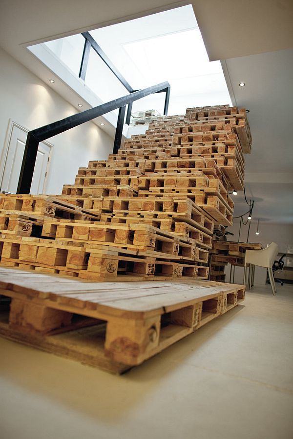 Lots of ideas for pallets.    Pallets can be used to create all sorts of things. Here's a more elaborate project that required several pallets. In order to make this project part of your own home, you'll need a lot of wooden pallets and some skills and knowledge about staircases. It's not something that we encourage everyone to do because staircases can be dangerous if not built properly