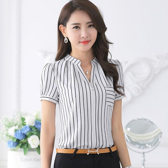 2016 de moda de Verano camisa de la raya femenina V-cuello de la corto-manga de la gasa blusa oficina de Negocios formal más el tamaño de ropa de trabajo tops