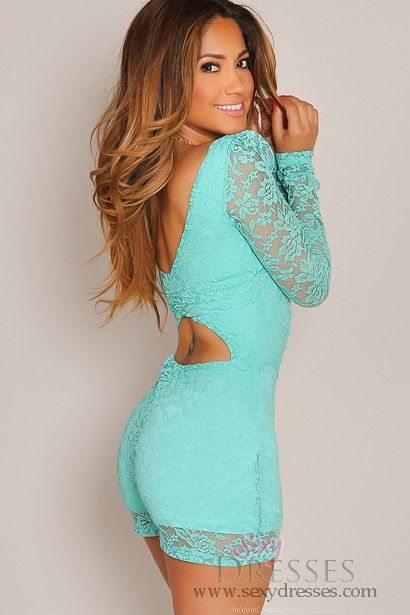 Long Sleeve Mint Lace Romper, perfect with these heels: http://www.pinterest.com/pin/346355027566120697/