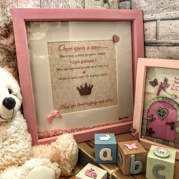 Once up a time deep box frame Personalised baby gift Personalised new baby gift Personalised Christening gift Personalised baby naming gift Personalised baptism gift.