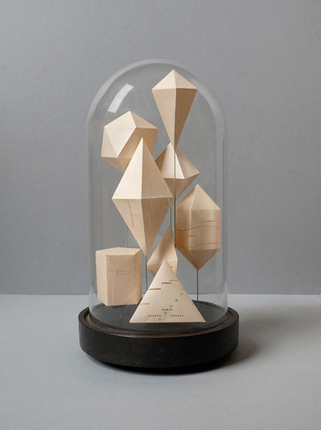 Geometric shapes in glass dome: Bell Jars, Belle Jars, Glass Domes, Glasses Domes, Geometric Shapes, Paper Art, Paper Sculptures, Geometry Lessons, Hourglass