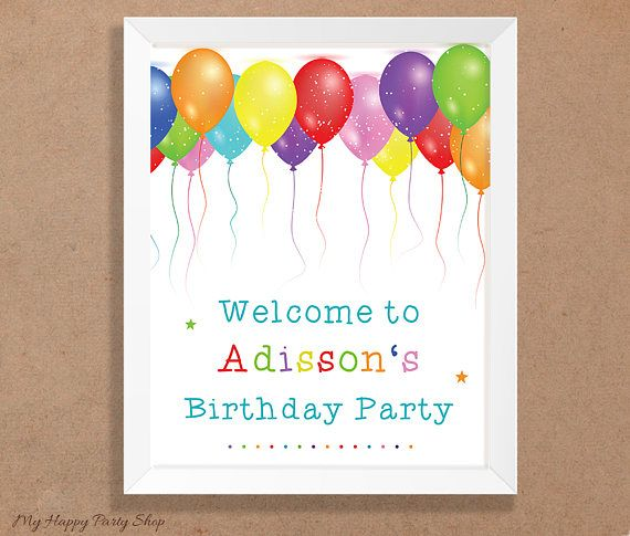 Balloons Party Welcome Sign,Custom Name Birthday Party Welcome Sign, Door Sign, Personalized,  Balloons Birthday Party, Digital File - KU002