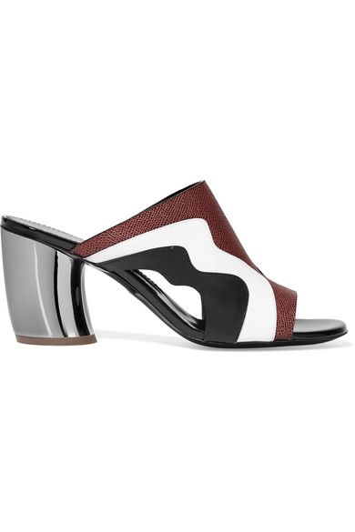 Heel measures approximately 75mm/ 3 inches Claret textured-leather, black smooth leather, white patent-leather Slip on Made in ItalySmall to size. See Size & Fit notes.