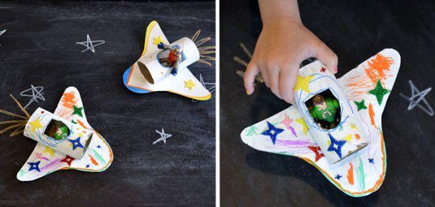 Nave espacial con tubos de papel higiénico #manualidades #niños #crafts #kids