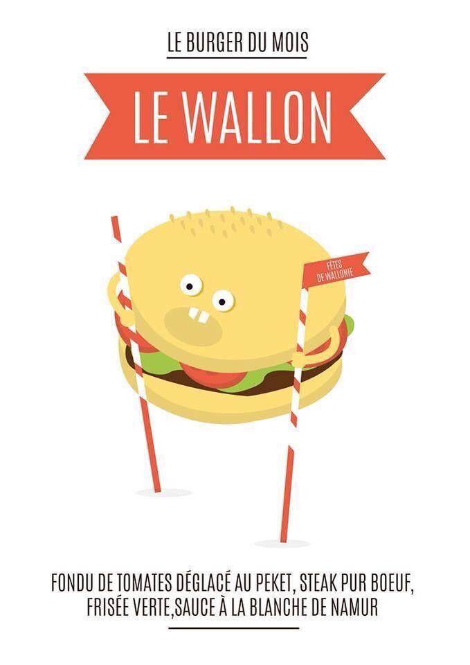When a burger restaurant wants to create a special burger for the Festival of Wallonia, he thinks to ... a stilt walker of Namur !  Quand un fast food veux créer un hamburger spécial pour les fêtes de Wallonie, il choisi de faire référence à ... Un echasseur !
