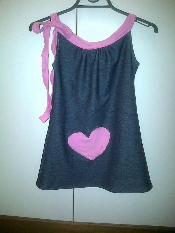 Denim spring dress with heart appliqué (sept 2013)