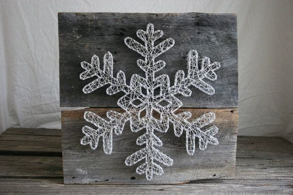 "String Art 18""x18"" Ornate Holiday Snowflake, Reclaimed wood and Natural String"