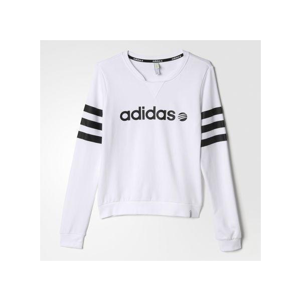 adidas Branded Sweatshirt White ($30) ❤ liked on Polyvore featuring tops, hoodies, sweatshirts, white, sweat shirts, graphic sweatshirts, white sweatshirt, striped top and sweatshirts hoodies
