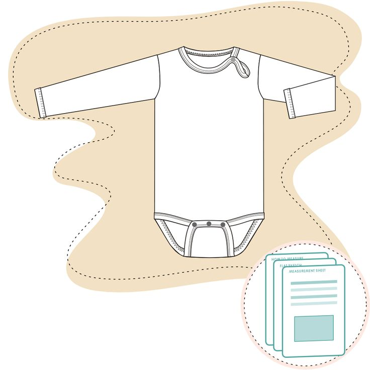 TMS Tech Pack Template Baby Longsleeve Onesie Size range 3-6 M to 18-24 M Recommended fabric: 100% Cotton Jersey or similar.  Ready-to-use documents for a perfect fit Documents are ready to send to manufacturer D…