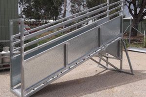 Adjustable sheep loading ramp made by Complete Weld in Mudgee, NSW, Australia.