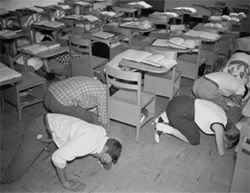 Duck and Cover bomb drills for American school children - Yes I remember it well.