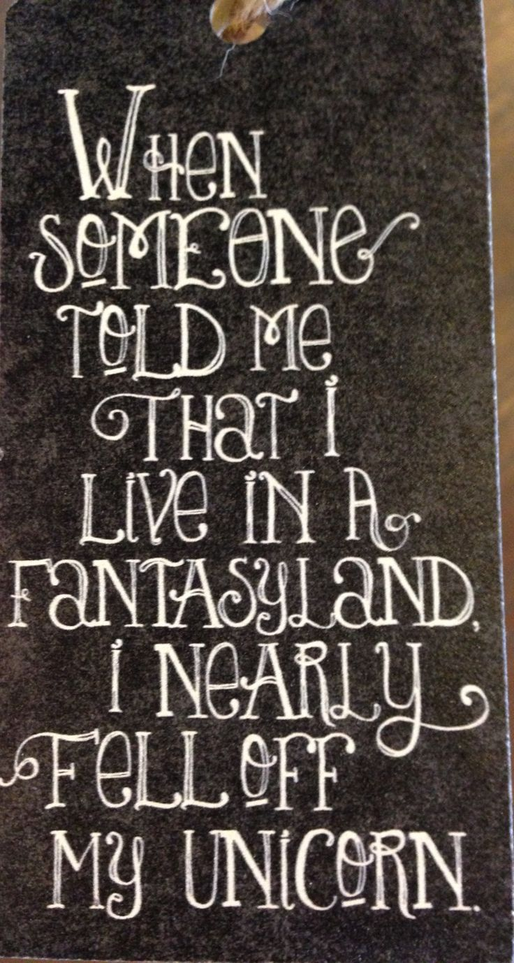 When someone told me that I live in a fantasyland, I nearly fell off my unicorn.