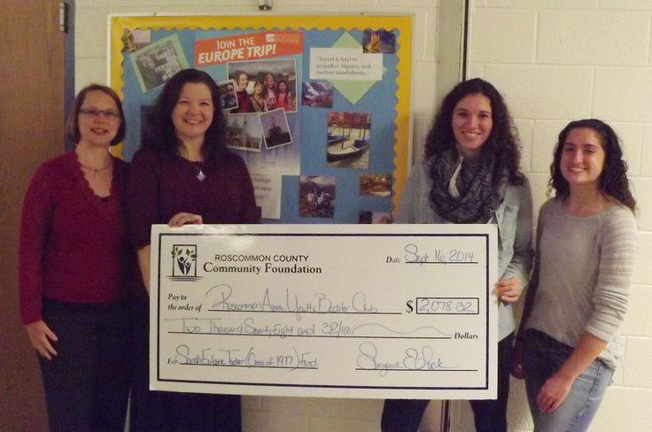 Suzanne Luck, Executive Director RCCF, Nikki Petrosky, RHS Teacher and trip organizer, Katie Tozer, and Kerrigan Fitzpatrick.