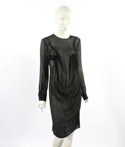 Silk Tuck dress. 100% Silk front 100% tencel back, black long sleeve sheer tuck dress. Price $250